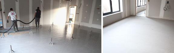 Plancher chauffant, chape liquide pour construction neuve dans bâtiment