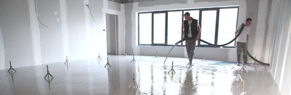 Chapes liquides en cours de réalisation des travaux par l'entreprise Nombret dans l'Ain