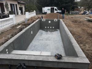 Travaux de maçonnerie, construction d'une piscine