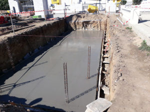 Travaux de maçonnerie, réalisation du radier piscine