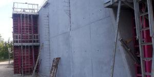 Coffrage, élévation de mur béton armé double hauteur
