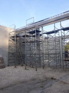Maçonnerie élévation de mur en béton armé, poutre, étayage