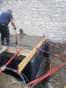 Rénovation, coulage d'une dalle pleine à Morestel