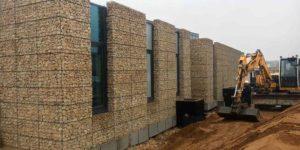 Parement de murs en gabions