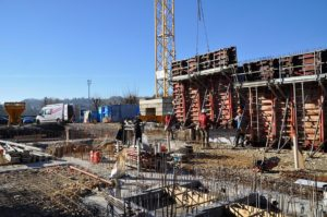 Construction de murs en béton armé à Morestel
